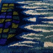A mid-century Finnish Rya rug, 200cm x 140cm Good condition, slight discolouration to tassels