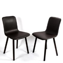 JASPER MORRISON for Vitra, a pair of Hal leather and wood side chairs, with impressed maker's