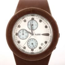 STEFANO PIROVANO for Alessi, a rubber-strapped chronograph watch, with white and steel face Good