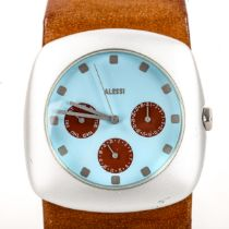 STEPHANO PIROVANO for Alessi, a Callisto chronograph watch, with leather strap Good working order,
