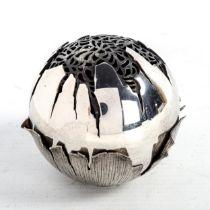 MELANIE SPROAT, a handmade silver pot pourri room diffuser, 147g Good condition, in original box,