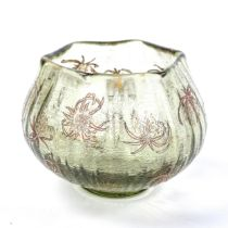 EMILE GALLE, France, small glass bowl with scalloped rim and thistle seed heads, 1885-90,