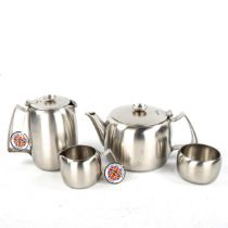 A 1960s OLD HALL 4-piece Connaught stainless steel tea set, 3 in original boxes All unused