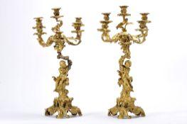 A pair of six-light candelabra