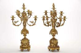 A pair of five-light candelabra