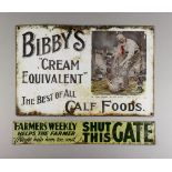 """A """"Bibby's Calf Foods"""" Enamel Advertising Sign, Early 20th Century, worded """"Bibby's Cream Equivalent"""