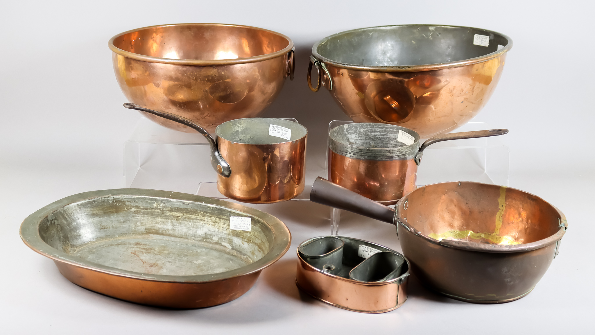 Two Copper Circular Mixing Bowls, 19th Century, and Mixed Copper Ware, the mixing bowls with loop