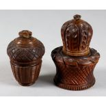 Two Coquilla Nut Nutmeg Graters, 19th Century, one carved with panels of stylised leaves and
