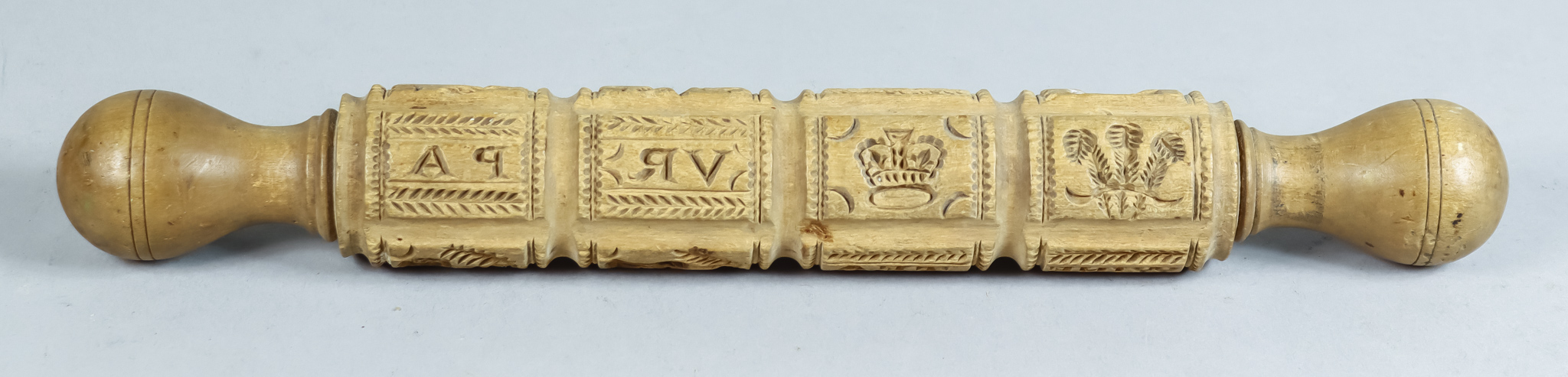 A Carved Wood Roller, Victorian, carved with motifs including - Prince of Wales feathers, crown, - Image 2 of 2