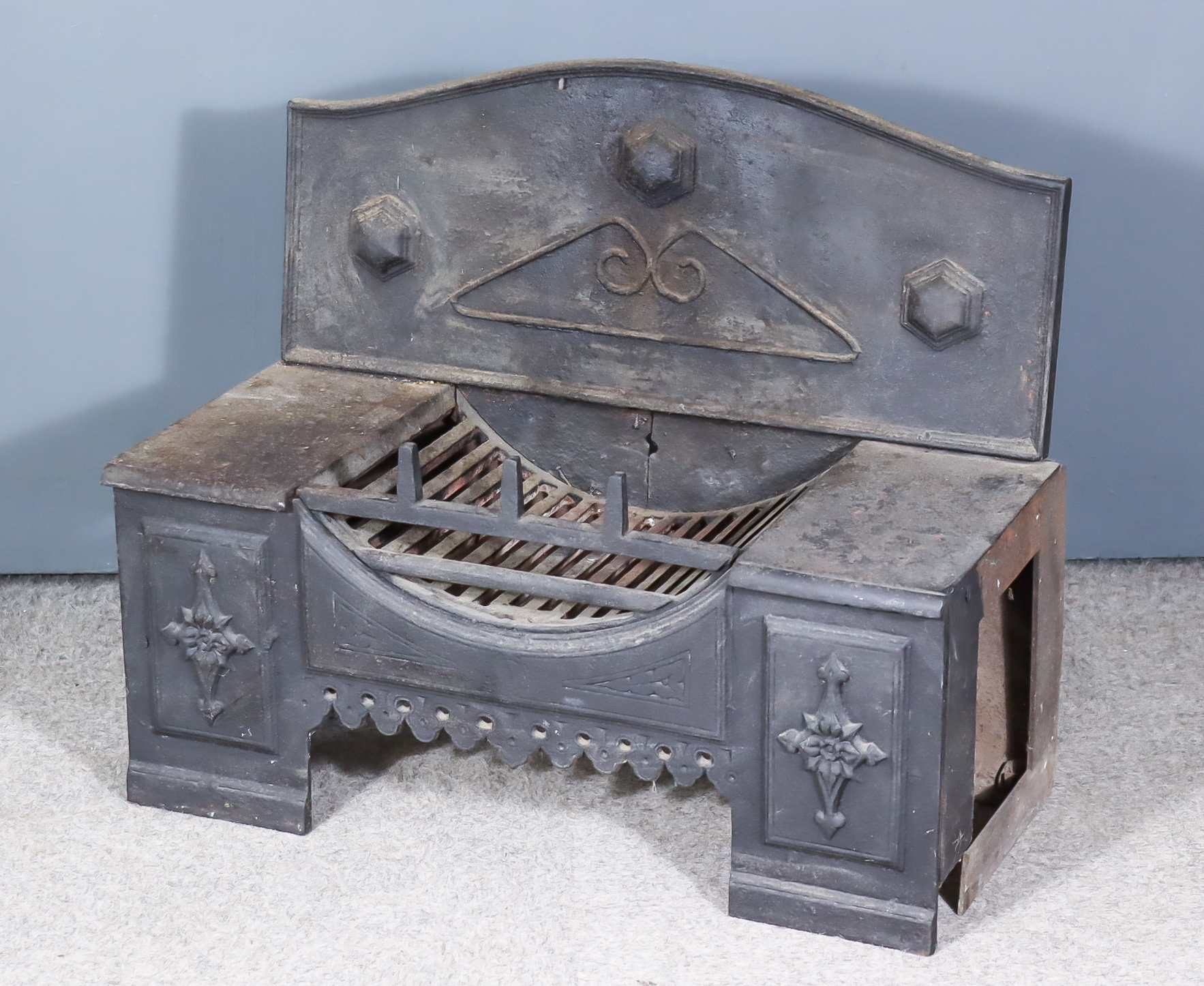 A 19th Century Cast Iron Hob Grate, with shaped back, 28.5ins wide x 13.5ins deep x 24ins high
