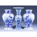 "Three Delft Blue and White Vases of ""18th Century"" Design, 19th/20th Century - pair of hexagonal"