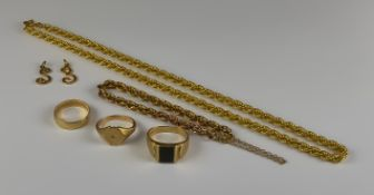 A Mixed Lot of 9ct Gold, comprising - a rope twist necklace, 440mm overall, a rope twist bracelet,