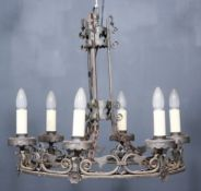 """A Wrought Iron Circular Six Light Electrolier in """"Baronial"""" Style, 21.25ins diameter, and a"""
