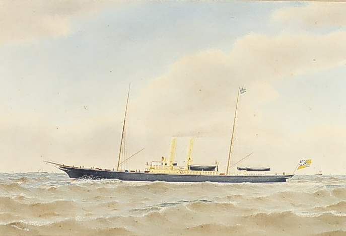 Harold Percival (1868-1914) - Watercolour - Masted steam vessel at sea with other steam ships and