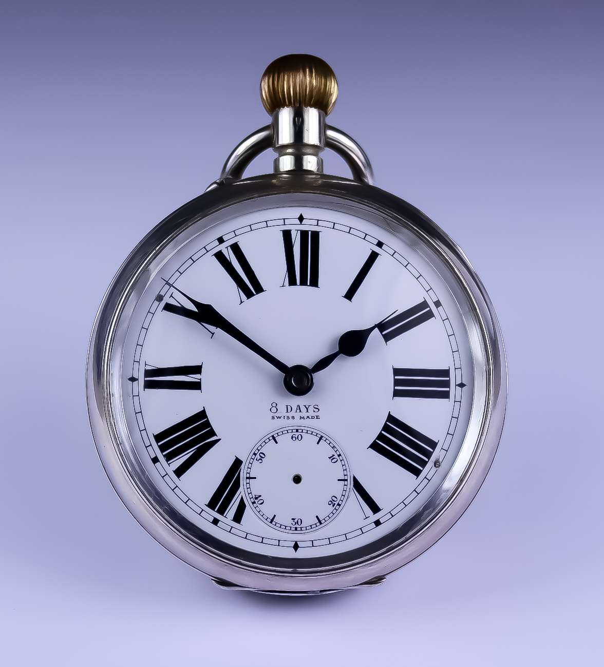 """A Silver Cased """"Goliath"""" Eight Day Pocket Watch, 68mm diameter, white enamelled face with black"""