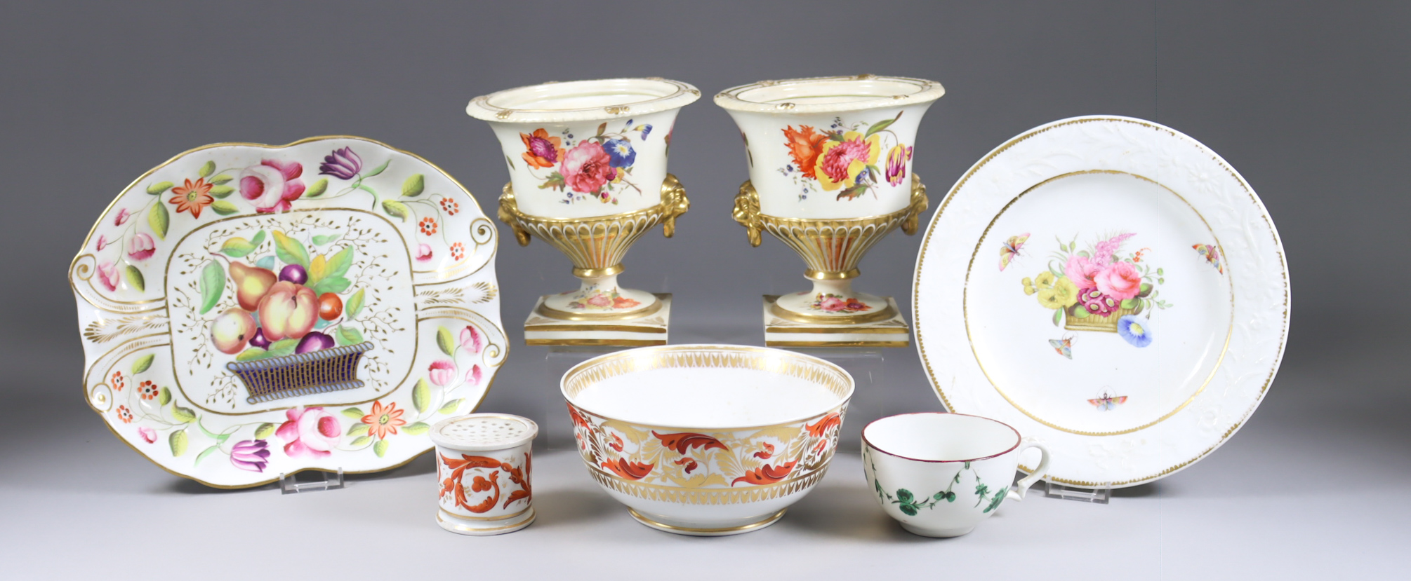 A Collection of English Porcelain Table Wares, 19th Century, including - moulded dish of shaped