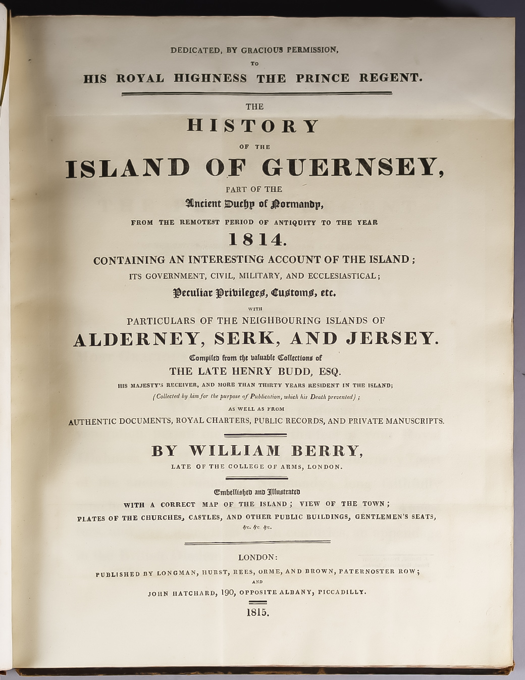 """William Berry - """"The History of the Island of Guernsey"""", published by Longman, Hirst, Rees, Orme &"""