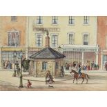 """19th Century English School - Ink and watercolour - """"Notting Hill Gate, 1861 - At the top of"""