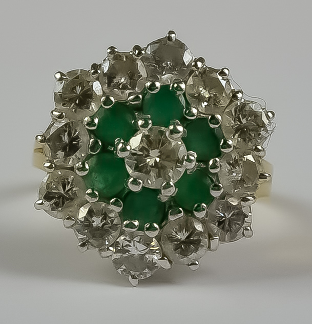 A Diamond and Emerald Flower Head Ring, Modern, 18ct yellow gold set with brilliant cut white