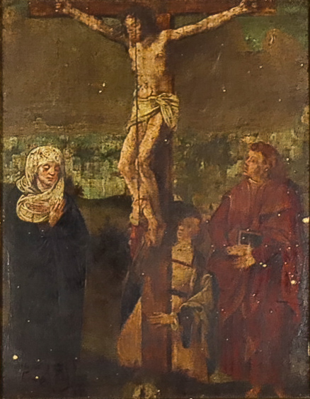 Late 16th Century Low Countries School - Oil painting - The Crucifixion with two Maries and St. John