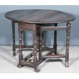 A Late 17th/Early 18th Century Oak Oval Gateleg Table of Small Proportions, on turned supports