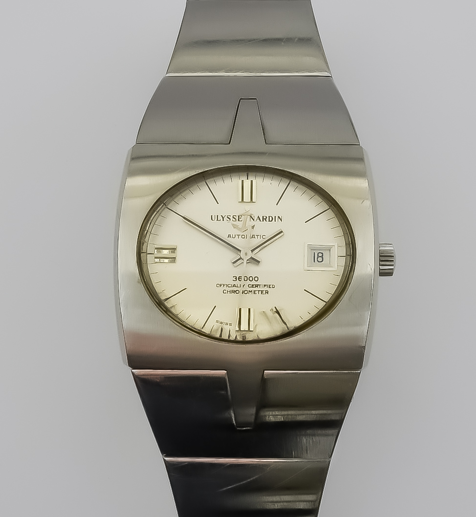 A Ulysse Nardin Automatic Wristwatch, 20th Century, stainless steel case, Model 3600, the cream oval