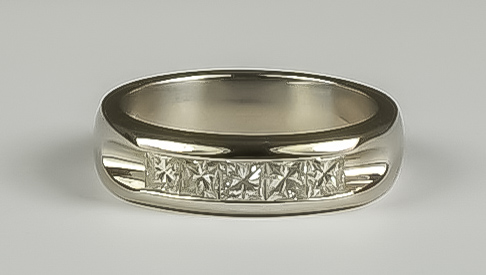A Diamond Five Stone Ring, Modern, 18ct white gold set with five empress cut brilliant white