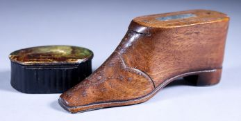 An English Mahogany Shoe Pattern Snuff Box, 19th Century, with piqué-work heart and stylised