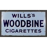 """A """"Wills's Woodbine Cigarettes"""" Enamel Advertising Sign, Early 20th Century, 23.5ins x 44ins"""