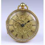 An 18ct Gold Cased Open Faced Fusee Lever Pocket Watch, by Millidge & Son, Edinburgh, 1850, 40mm