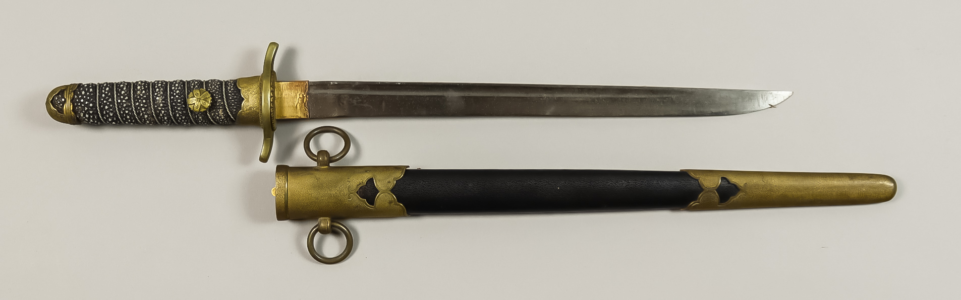 A Japanese Naval Dirk, no visible marks, ray skin grip