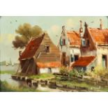 20th Century Dutch School - Three small oil paintings - Rural landscapes with various houses, one by