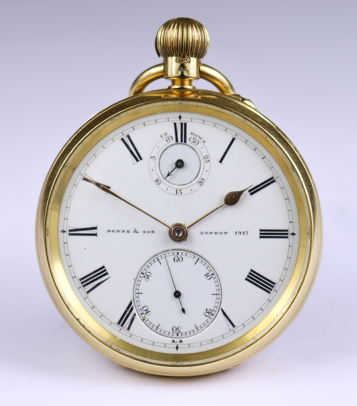 An 18ct Gold Cased Open Faced Lever Pocket Watch, by Donne & Son, 1896, 52mm diameter case, with