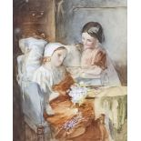 Emily Farmer (circa 1826-1905) - Watercolour - A young girl offering her sister a bowl of food as