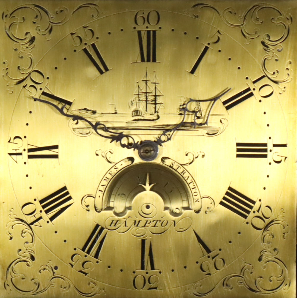 An 18th Century Oak Longcase Clock, by James Stratton of Hampton, the 11ins square brass dial with - Image 2 of 2