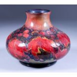 A Moorcroft Pottery Vase of Squat Form, Circa 1928-1934, decorated with a leaf and fruit design