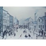 """Laurence Stephen Lowry (1887-1976) - Limited edition colour print - """"The Level Crossing"""", signed"""
