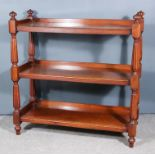 A Victorian Mahogany Three-Tier Tray Top Dinner Wagon, with turned and reeded finials and