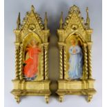19th Century Italian School - Pair of oil paintings - Angles in attitude of supplication and prayer,
