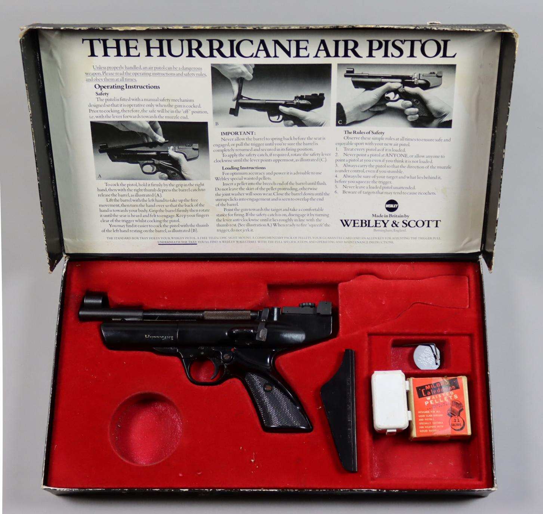 A .22 Air Pistol by Webley, Model Hurricane, 8in blued steel barrel, elevating sights, composite