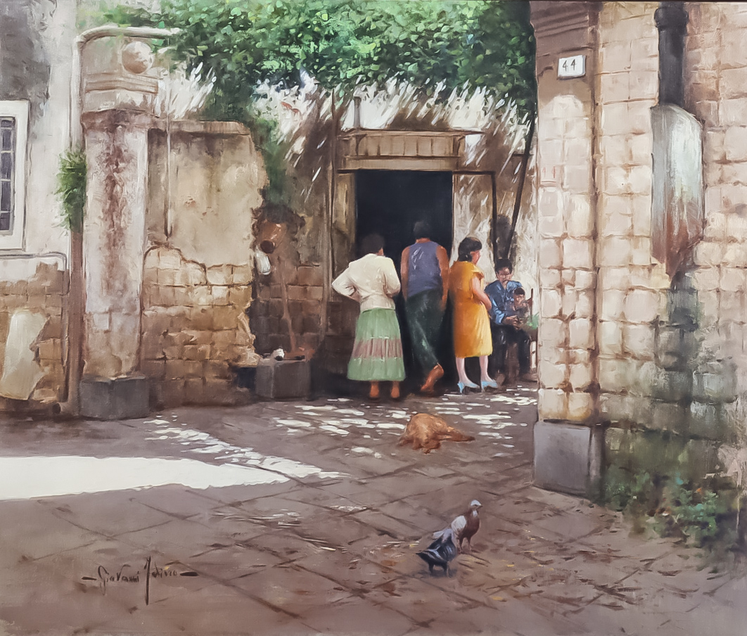 ***Giovanni Faliero (born 1960) - Oil painting - Figures by a doorway, signed, canvas 19.75ins x