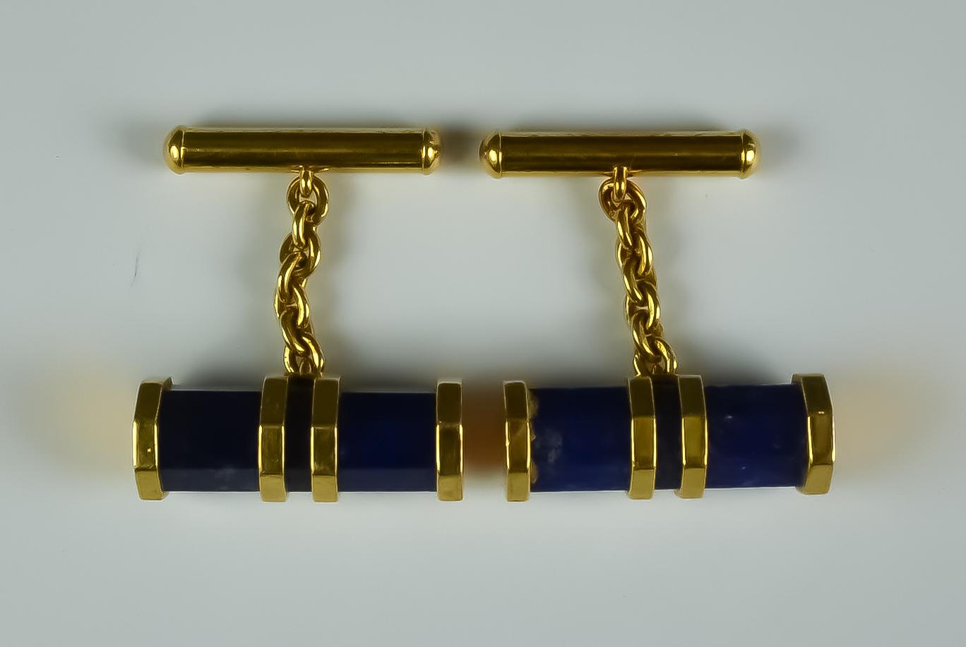 A Pair of 18ct and Lapis Lazuli Cufflinks, gross weight 16.2g