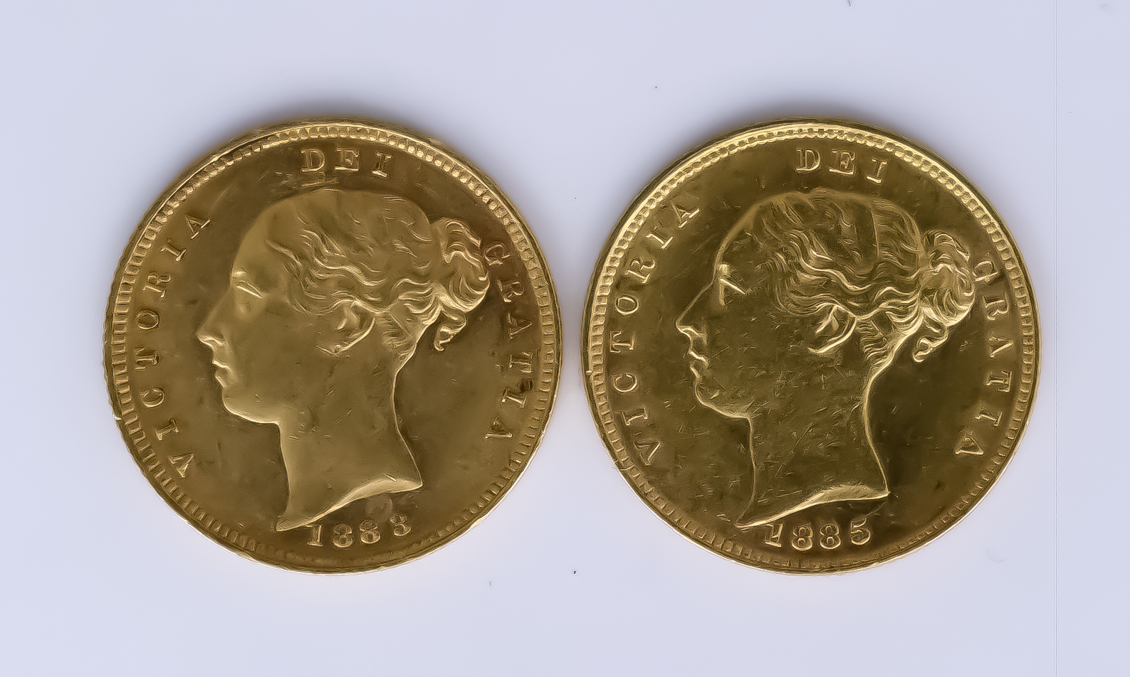 Two Victoria 1883 and 1885 Shield Half Sovereigns