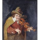 19th Century Dutch School - Oil painting - A man in 18th Century dress playing a violin, panel 11.