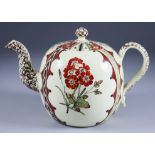 An English Cream Ware Teapot and Cover, Circa 1768-1770, probably Wedgwood painted in the Rhodes