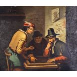 19th Century Dutch School - Pair of oil paintings - Interiors of inns with figures drinking and