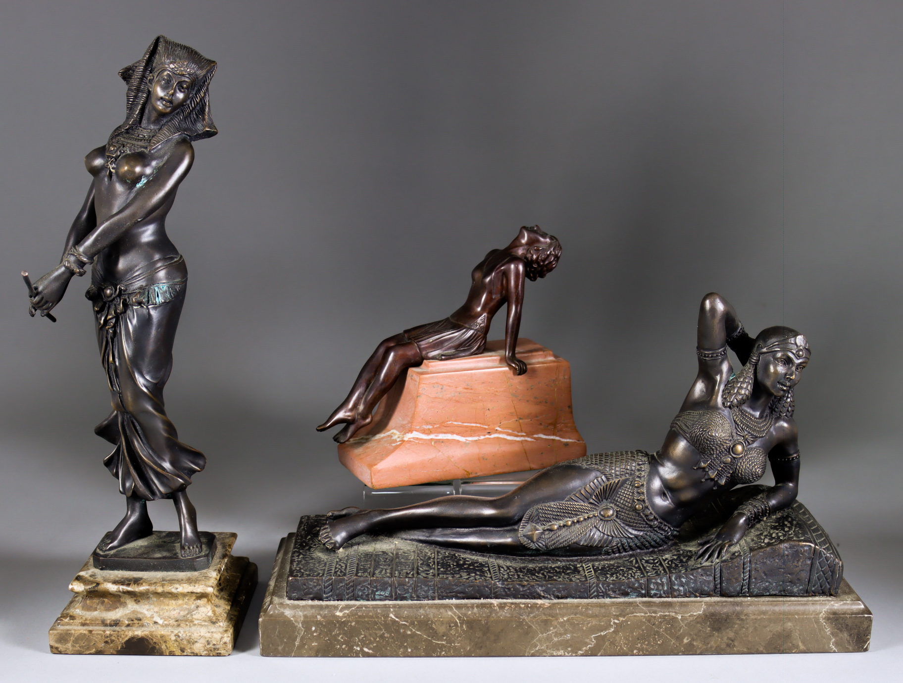 After Demetre Chiparus (1886-1947) - Bronze figure of reclining Egyptian female, signed and with