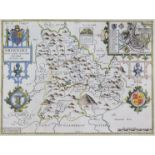 """John Speed (1552-1629) - Coloured engraving - """"Breknoke, both Shyre and Towne descibed"""" with plan of"""
