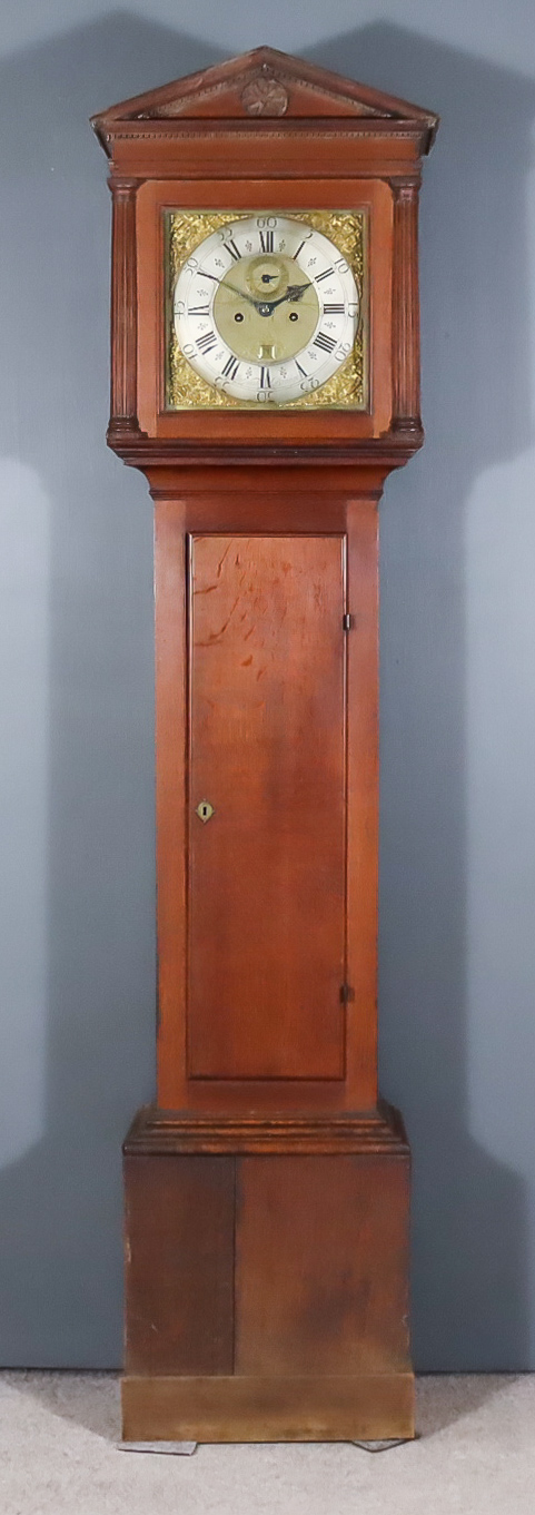 An 18th Century Oak Longcase Clock, by John Nash of Bridge, the 12ins square brass dial with