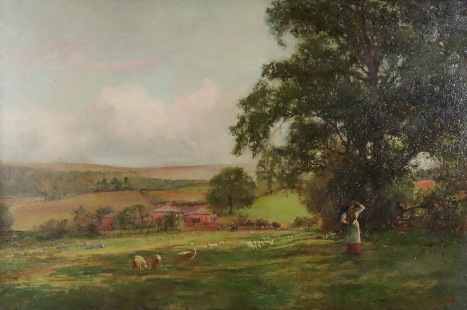 Charles Sims (1873-1928) - Oil painting - Rural landscape (thought to be Lodsworth, West Sussex),